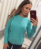 Яркий женский свитер с вязанными узорами, фото 1