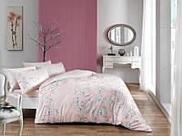 Двуспальное евро постельное белье TAC Flora Pink Сатин