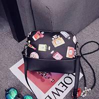 Маленькая черная, стильная сумка с духами Dior&Chanel Копия