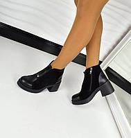 Демисезонные ботиночки с расклешенным каблуком, материал натуральная кожа + замша