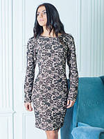 Шикарное женское платье с прекрасным рисунком Фернанда бежевого цвета