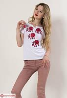 Традиционная женская футболка вышиванка белая с красным орнаментом