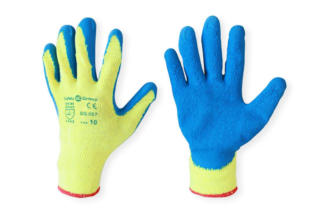 Перчатки облитые резиной Пена синие