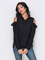 Жіноча чорна блузка з вирізами Irides