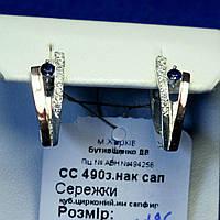 Серьги из серебра с золотыми вставками сс 490 з.нак сап