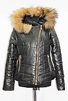 Куртка женская зимняя косуха с натуральным мехом, черная, р 44-48
