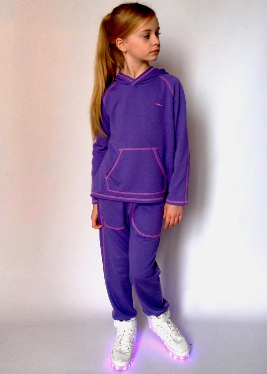 Детский спортивный костюм для девочки трикотажный фиолетовый кенгуру двухнитка вискоза