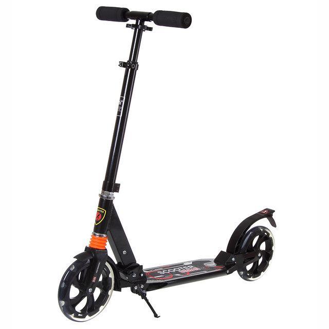 """Двухколёсный самокат Scooter """"Urban 9X"""" алюминиевый с отражателем, Черный"""