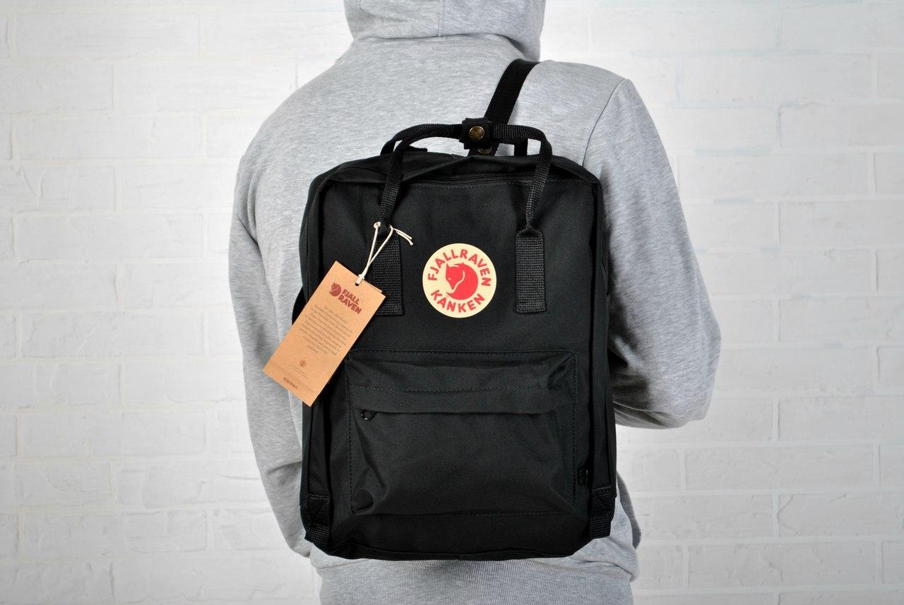 Рюкзак черный Fjallraven Kanken classic, классик с лисой