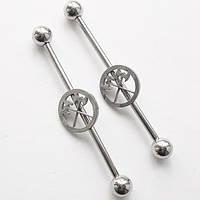 """Штанга на индастриал """"Топор"""" (длина 36 мм) (цена за 1шт) для пирсинга ушей. Медицинская сталь."""
