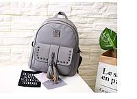 Рюкзак женский кожаный с кисточками и заклепками (серый)