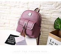 Рюкзак женский кожаный с кисточками и заклепками (розовый), фото 1