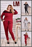 От 42 до 74 р Красивый костюм с кружевом 770620 женский батал большого размера весенний осенний серый бордовый