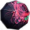 Зонт женский Роза на черном полуавтомат