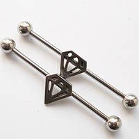 """Штанга на індастріал """"Алмаз"""" (довжина 36 мм)(ціна за 1шт) для пірсингу вух. Медична сталь., фото 1"""
