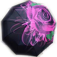 Зонт женский Роза на черном полуавтомат, фото 1