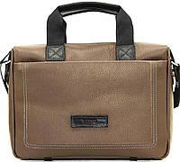 Мужская кожаная сумка-портфель Mk-33.1 серая, бежевая