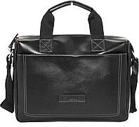 Мужская кожаная сумка-портфель Mk-33.1 черная гладкая