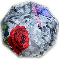 Зонт женский Цветы с бабочкой на сером полуавтомат, фото 1
