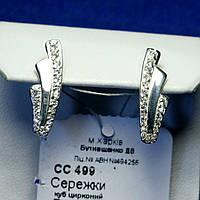Серьги из серебра с фианитами Дорожки сс 499