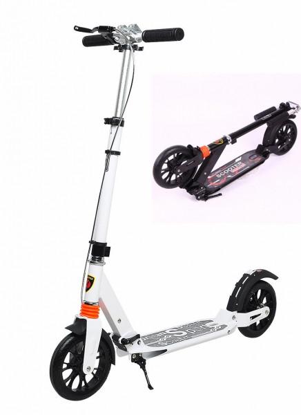 """Двухколёсный самокат Scooter """"Urban"""" алюминиевый с ручным тормозом и 2-мя амортизаторами, Белый"""