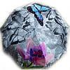 Зонт женский Цветы с бабочкой на сером полуавтомат