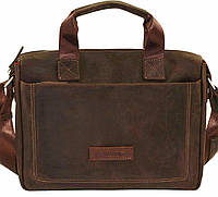 Мужская кожаная сумка-портфель Mk-33.1 коричневая винтажная матовая