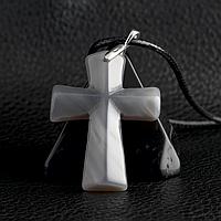 Агат халцедон темный, серебро, крестик, 584КЛХ