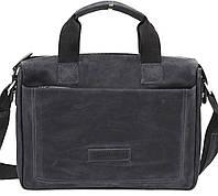 Мужская кожаная сумка-портфель Mk-33.1 черная матовая