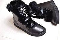 Зимние женские чёрные ботиночки с опушкою кролика