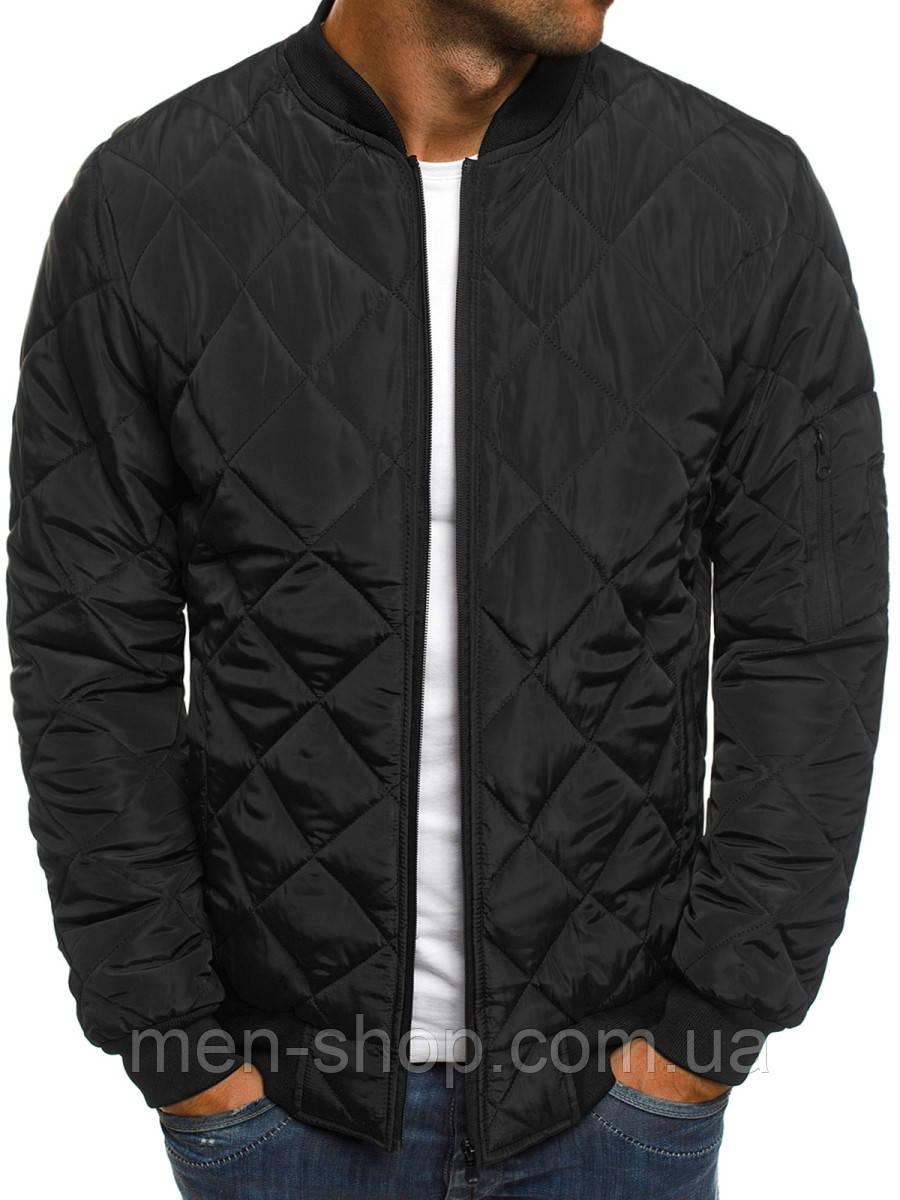 Мужская черная куртка бомбер