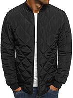 Мужская черная куртка бомбер, фото 1