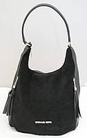 Женская замшевая сумка-мешок Michael Kors, цвет черный Майкл Корс MK