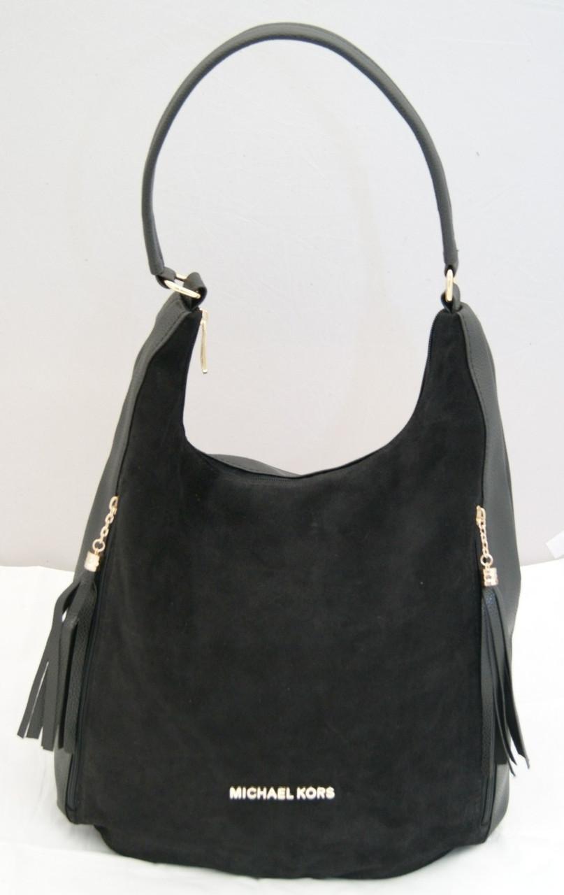 b6d3f433bef8 Женская замшевая сумка-мешок Michael Kors, цвет черный Майкл Корс MK ...