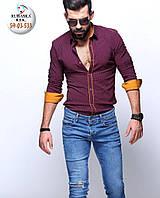 Модная бордовая мужская рубашка