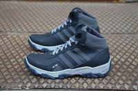 Мужские зимние кожаные ботинки Adidas черного цвета (111)