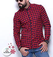 Мужская рубашка в клетку красного цвета