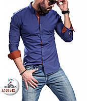 Красивая синяя мужская рубашка с бордовыми манжетами, фото 1