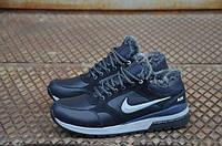Мужские зимние кожаные ботинки Nike синие (D-2)