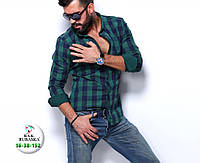 Мужская клетчатая рубашка зеленого цвета