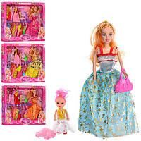 Кукла с нарядом 855A1 (24шт) 28см, дочка10см, платья13см,сумочка,шляпа,микс видов,в кор,42-33-5см