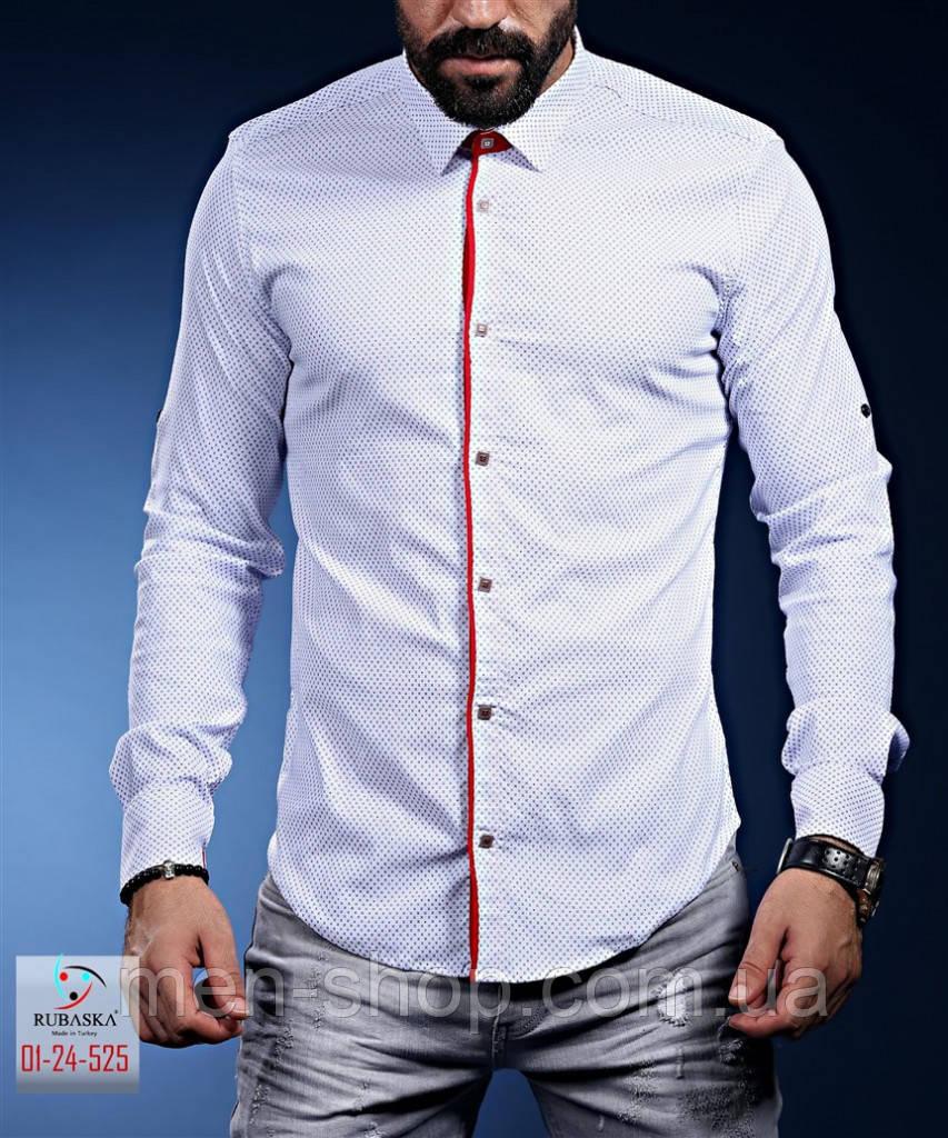 Нарядная белая мужская рубашка с красными манжетами