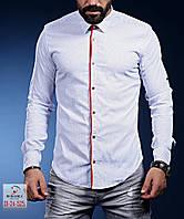 Нарядная белая мужская рубашка с красными манжетами, фото 1