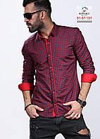 Бордовая мужская рубашка в мелкую клетку, фото 1