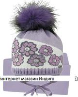 Шапка+шарф для девочки осень-зима