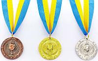 Медаль спортивная с лентой BOWL d-4,5см 1-золото (металл, d-4,5см, 20g)