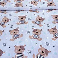 Ткань c коричневыми мишками Тедди и мятными звездами, ширина 160 см, фото 1