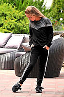 Детский спортивный костюм мама дочка брюки штаны с карманами кофта свитер чёрный 134 140 146 152