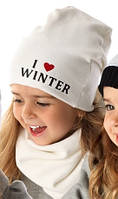 Детский комплект для девочки (шапка+хомут) I love winter, MARIKA (Польша)