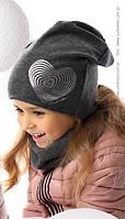 Детский комплект для девочки (шапка+хомут) Сердце, MARIKA (Польша)